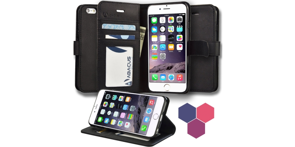 6S Case Wallet, Abacus24-7 iPhone 6S Wallet Case, Leather 6S Flip Cover with Card Holder and Kickstand - Black Flip Case for Apple iPhone 6S Phone
