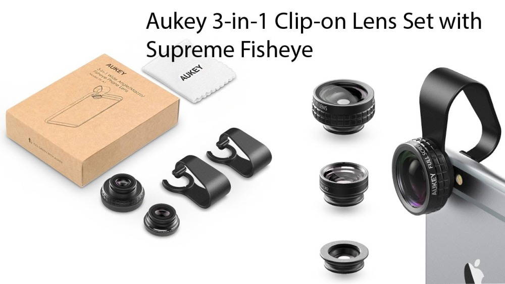 Aukey 3 in 1 Clip-on Cell Phone Camera Lens Kits