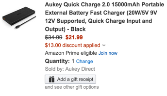 Aukey Quick Charge 2.0 15000mAh Portable External Battery
