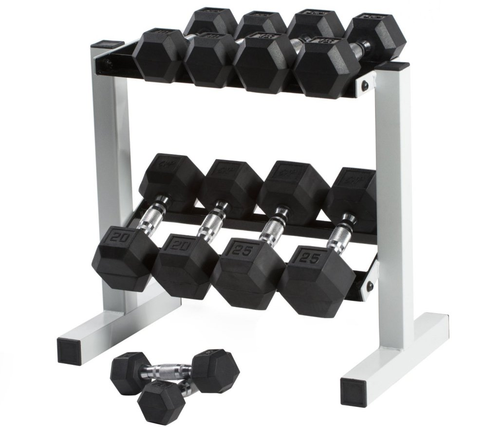 CAP Barbell 150 lb Rubber Hex Dumbbell Set, 5-25 lb with Rack-sale-01