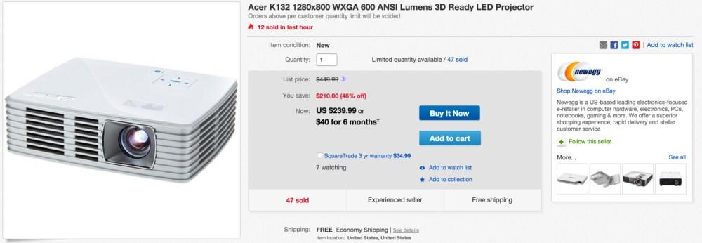 cer K132 1280x800 WXGA 600 ANSI Lumens 3D LED Projector