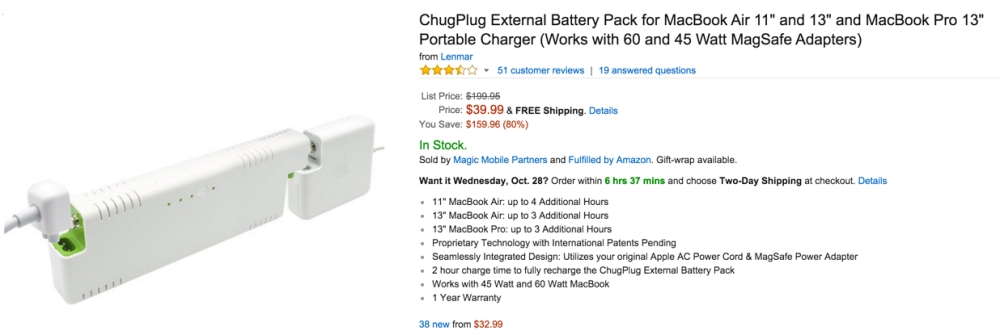 ChugPlug External Battery Pack for MacBook Air 11%22 and 13%22 and MacBook Pro 13%22 Portable Charger