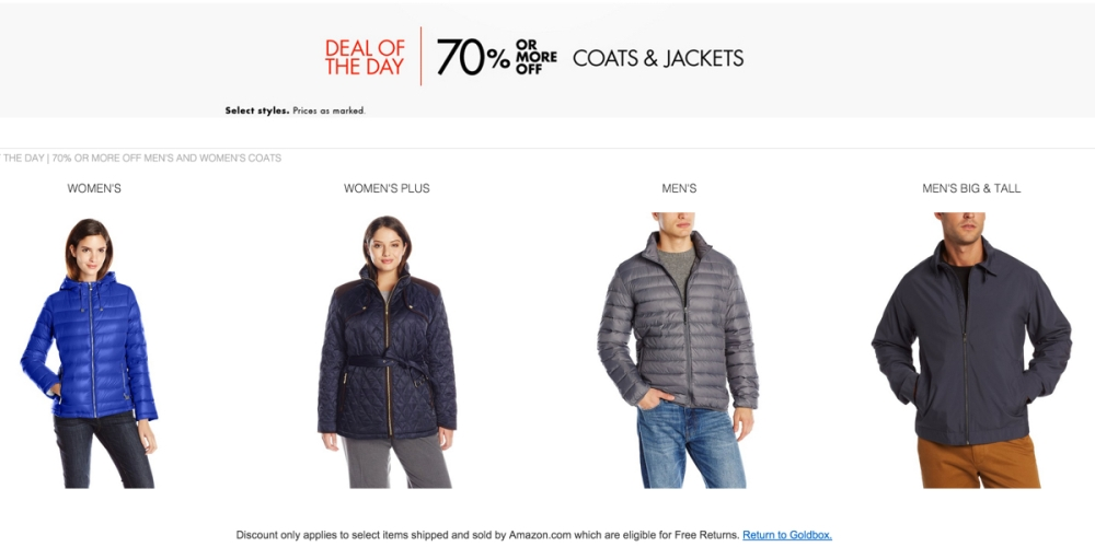 DEAL OF THE DAY | 70% OR MORE OFF MEN'S AND WOMEN'S COATS