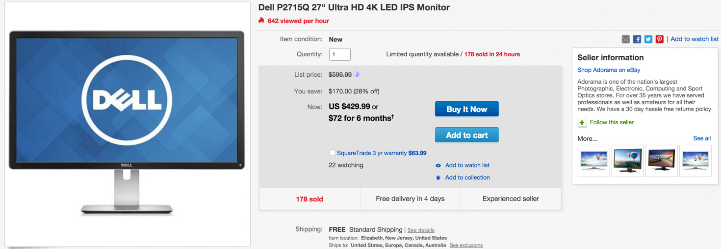 Dell P2715Q 27%22 Ultra HD 4K LED IPS Monitor