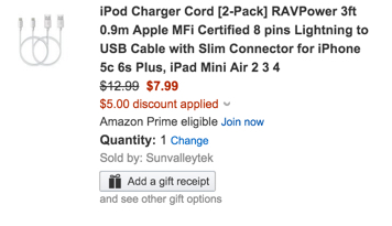 iPod Charger Cord [2-Pack] RAVPower 3ft 0.9m Apple MFi Certified 8 pins Lightning to USB Cable