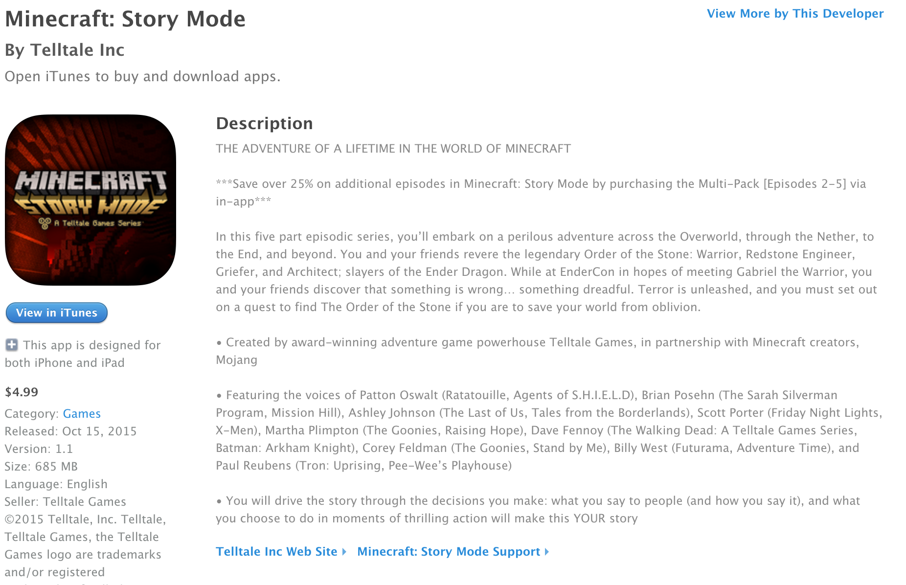 Minecraft Story Mode Ios