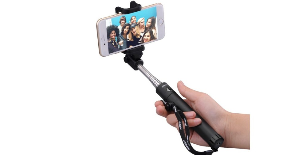 Mpow iSnap X One-piece U-Shape Self-portrait Monopod Extendable Selfie Stick with built-in Bluetooth Remote Shutter for iPhone 6, iPhone 5S, Samsung Galaxy S6 S5, Android -Black