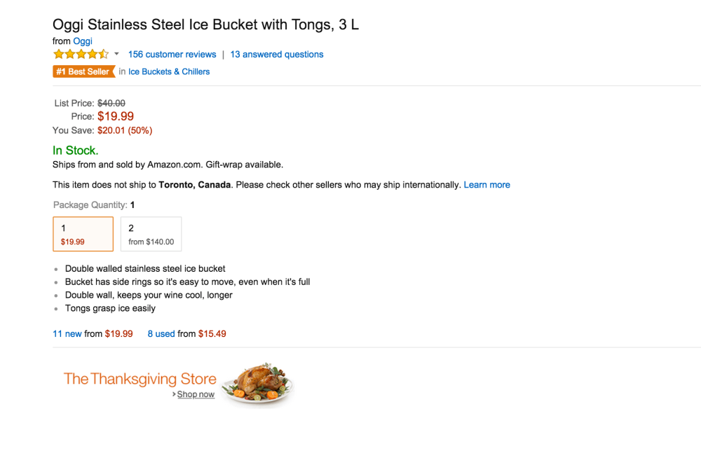 Oggi Stainless Steel Ice Bucket with Tongs0sale-02