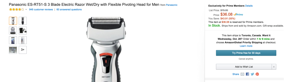 Panasonic 3 Blade Electric Razor Wet:Dry with Flexible Pivoting Head for Men (ES-RT51-S)-sale-03