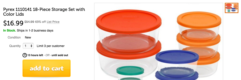 Pyrex 18pc Glass Food Storage with Multi-colored Lids (1110141)-sale-02
