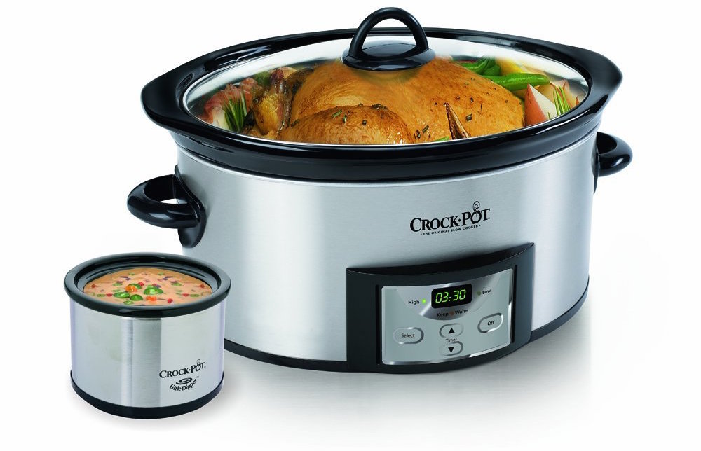 stainless steel Crock-Pot 6-Quart Countdown Oval Slow Cooker with Dipper (SCCPVC605-S-sale-01