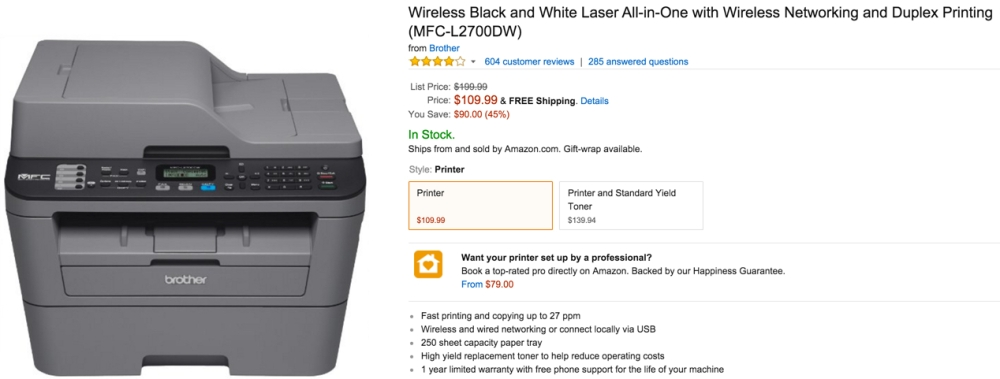 Wireless Black and White Laser All-in-One with Wireless Networking and Duplex