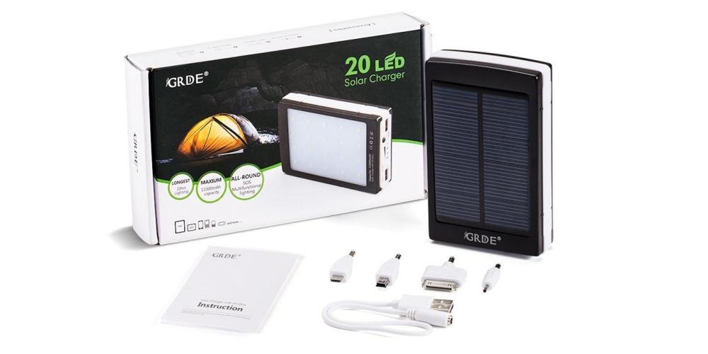 11000mAh Solar Charger& 20LED Camping Light 2-in-1; Dual USB External Solar Charger