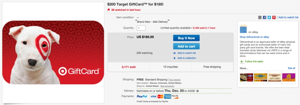 $200 Target GiftCard™ for $185!