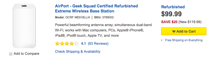 AirPort - Geek Squad Certified Refurbished Extreme Wireless Base Station