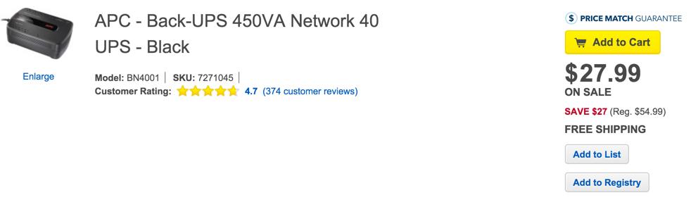 APC - Back-UPS 450VA Network 40 UPS