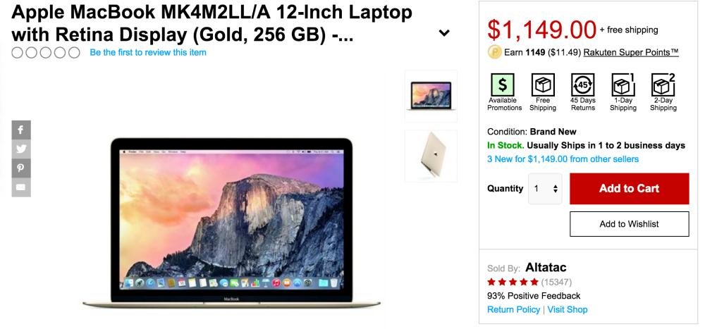 Apple 12-inch MacBook w: Retina display 1.1GHz:8GB:256GB-$1,099 shipped (Reg. $1,299)