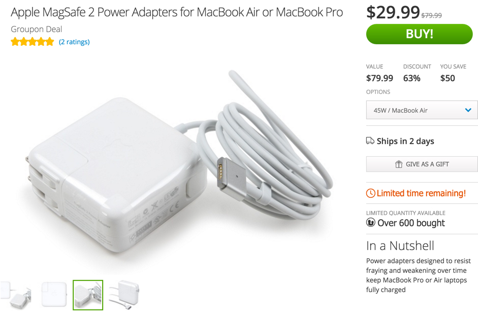 Apple MagSafe 2 Power Adapters for MacBook Air