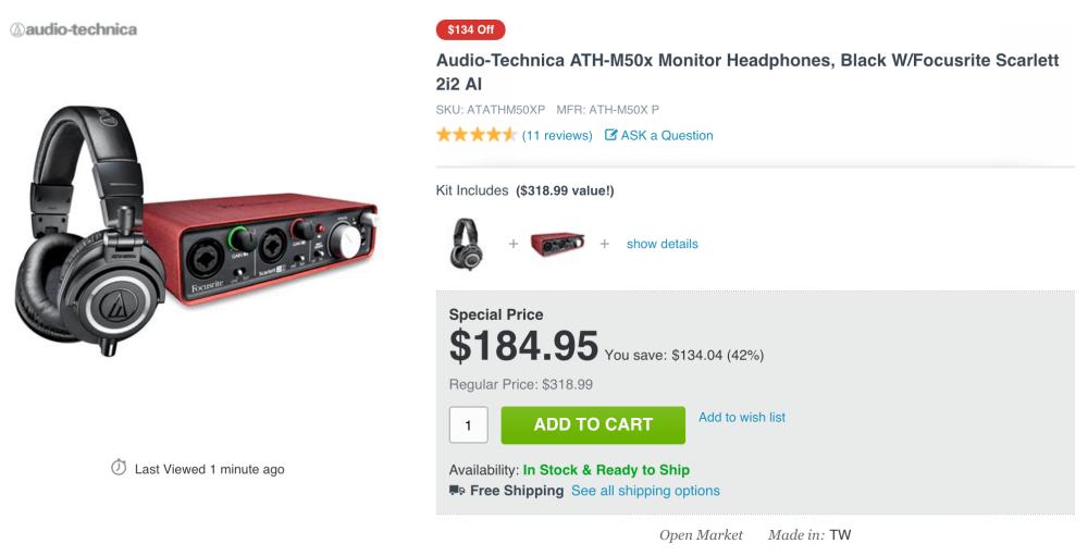 Audio-Technica ATH-M50x Monitor Headphones in black plus a Focusrite Scarlett 2i2 USB Recording Audio Interface-sale-01