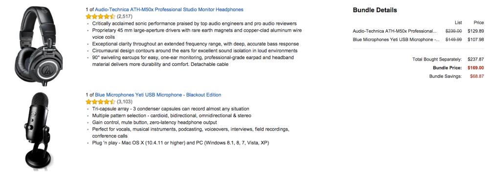 Audio-Technica ATH-M50x Professional Studio Monitor Headphones Bundle