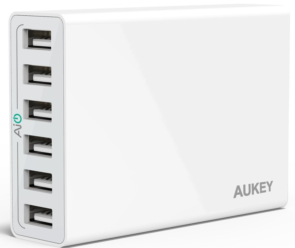 Aukey 50W : 10A 6 Ports USB Desktop Charging Station Wall Charger
