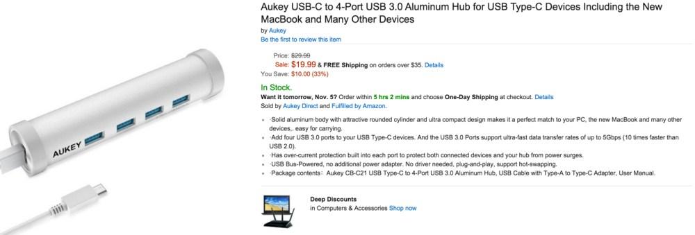 aukey usb-c hub at amazon