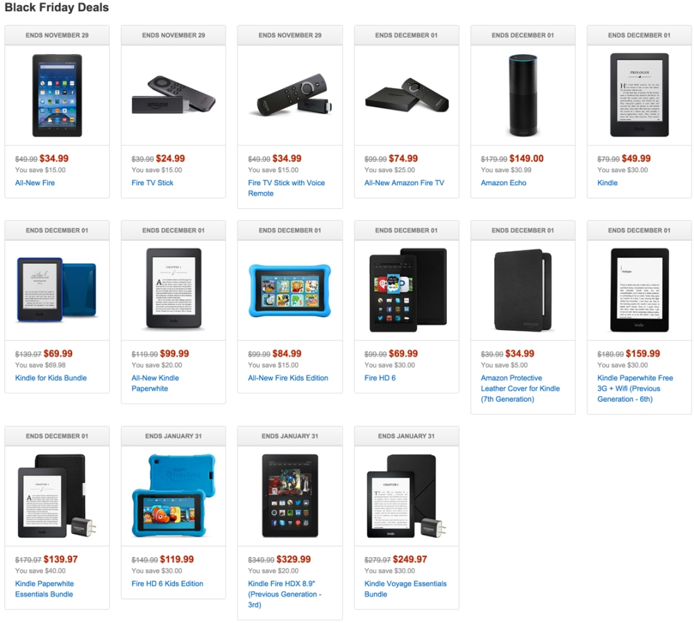 Black Friday Tablets - Amazon Kindle Fire and more