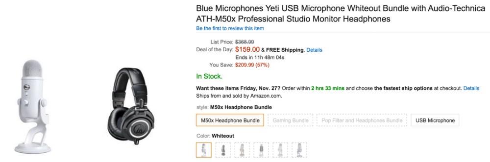 Blue Microphones Yeti USB Microphone Whiteout Bundle with Audio-Technica ATH-M50x Professional Studio Monitor Headphones