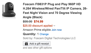 Foscam FI9831P Plug and Play 960P HD H.264 Wireless:Wired Pan:Tilt IP Camera, 26-Feet Night Vision and 70 Degree Viewing Angle (Black)