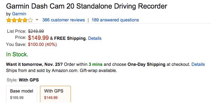 Garmin Dash Cam 20 Standalone Driving Recorder Amazon