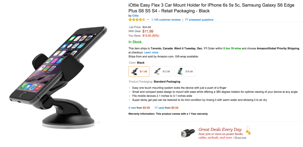 iOttie Easy Flex 3 Car Mount Holder for iPhone 6s, older iPhones and Android devices-sale-03