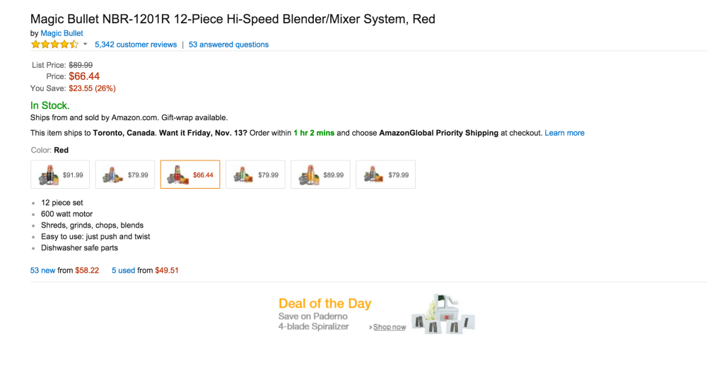 Magic Bullet 12-Piece Hi-Speed Blender:Mixer System in red (NBR-1201R)-sale-02