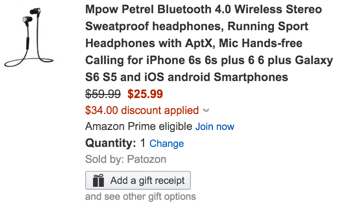 Mpow Petrel Bluetooth 4.0 Wireless Stereo Sweatproof headphone