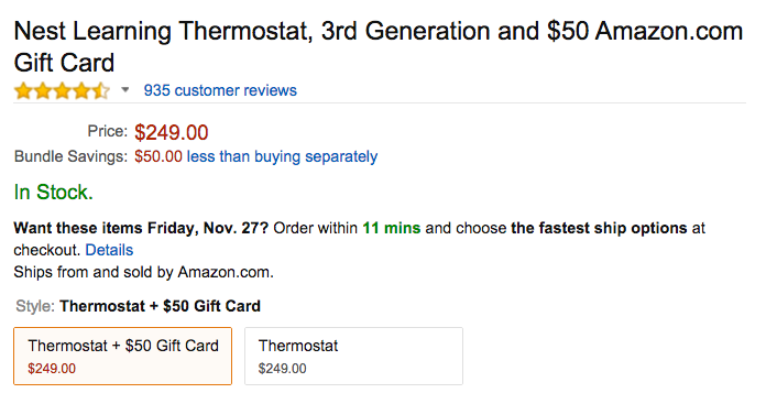 Nest Learning Thermostat Amazon Black Friday