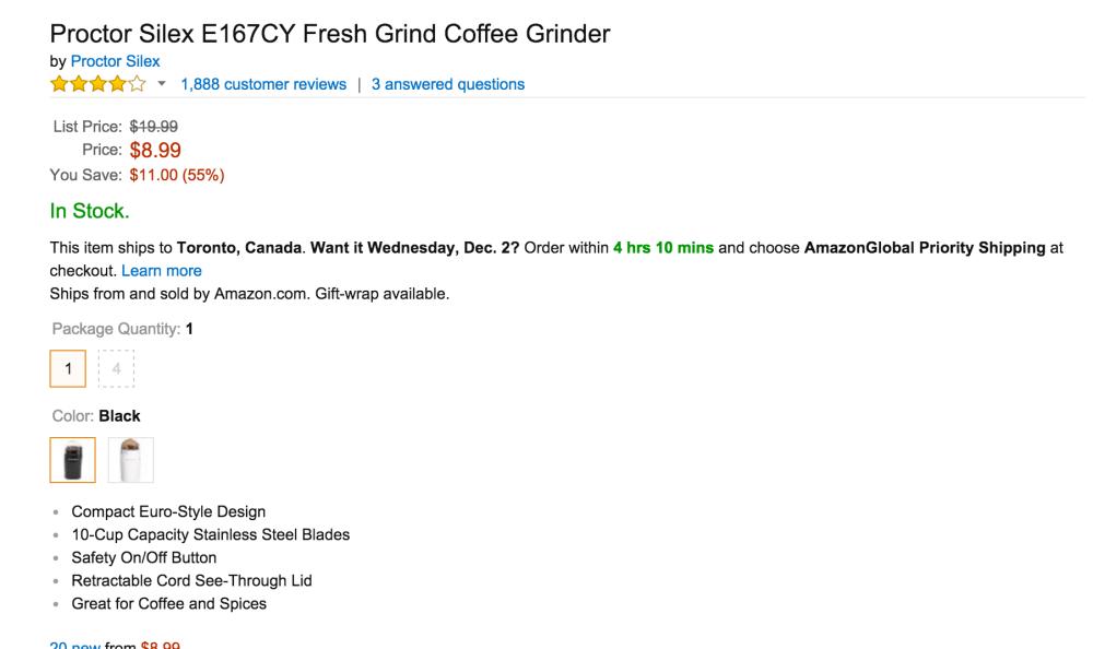 Proctor Silex Fresh Grind Coffee Grinder (E167CY)-sale-03