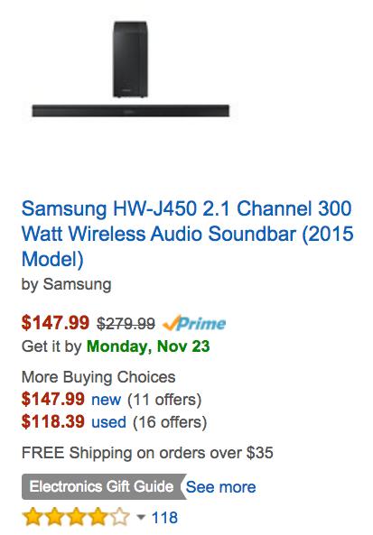 Samsung HW-J450 Soundbar-Amazon
