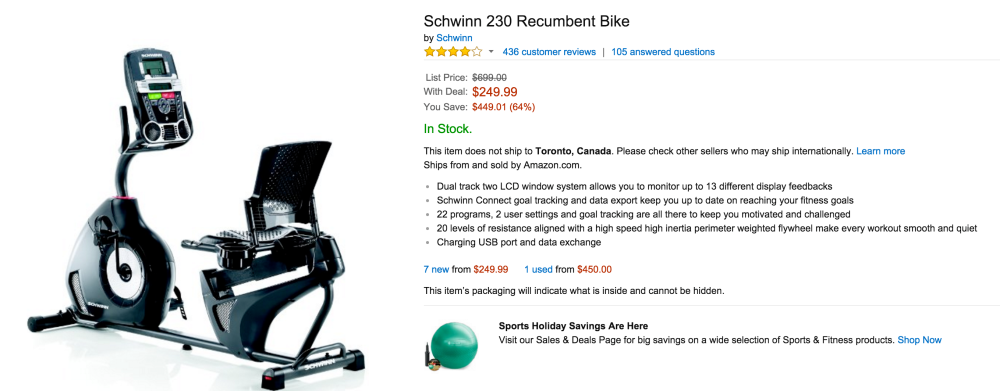 Schwinn 230 Recumbent Bike-sale-02