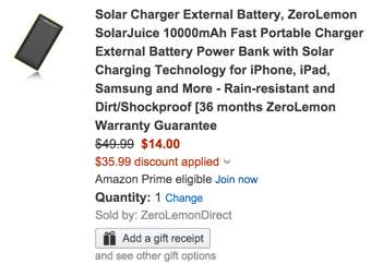 Solar Charger External Battery, ZeroLemon SolarJuice 10000mAh Fast Portable Charger External Battery
