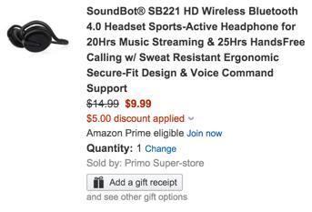 SoundBot Bluetooth Sports-Active Headphones $10 after code