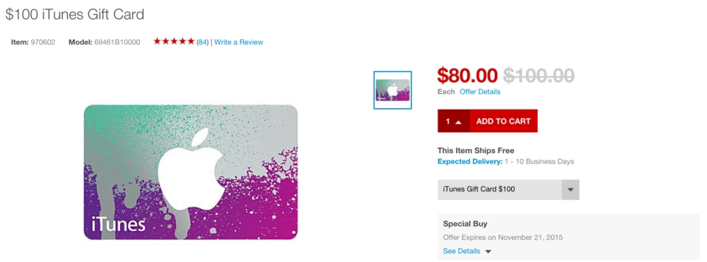 Staples 20% off itunes gift cards