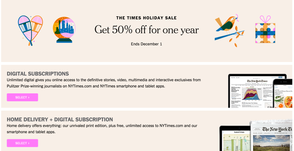The New York Times-sub-Cyber Monday