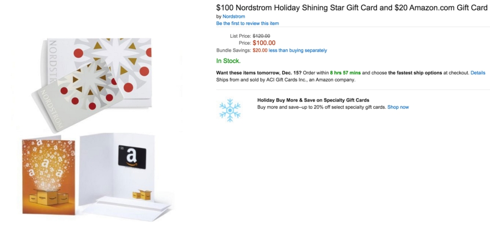 $100 Nordstrom Holiday Gift Card plus $20 Amazon Gift Card for $100