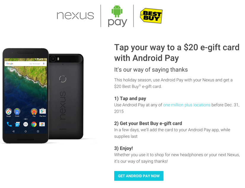 $20 Best Buy eGift Card for free when you use Android Pay