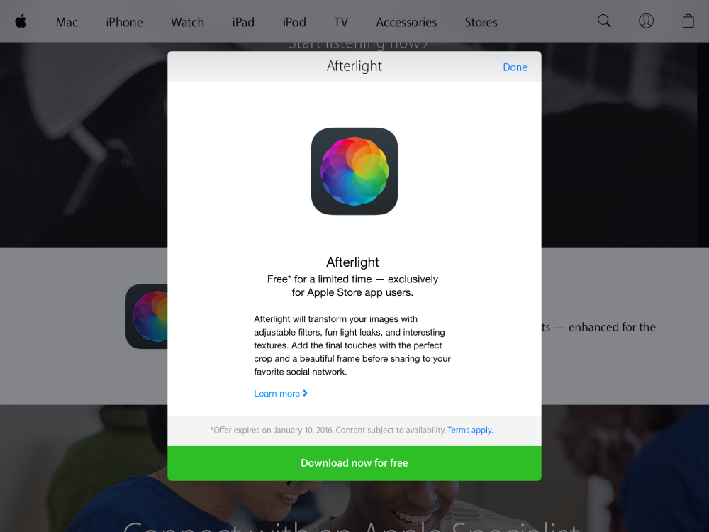 Afterlight image editing app
