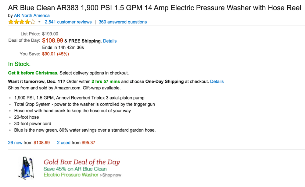 AR Blue Clean 1,900 PSI 1.5 GPM 14 Amp Electric Pressure Washer with Hose Reel (AR383)-sale-02