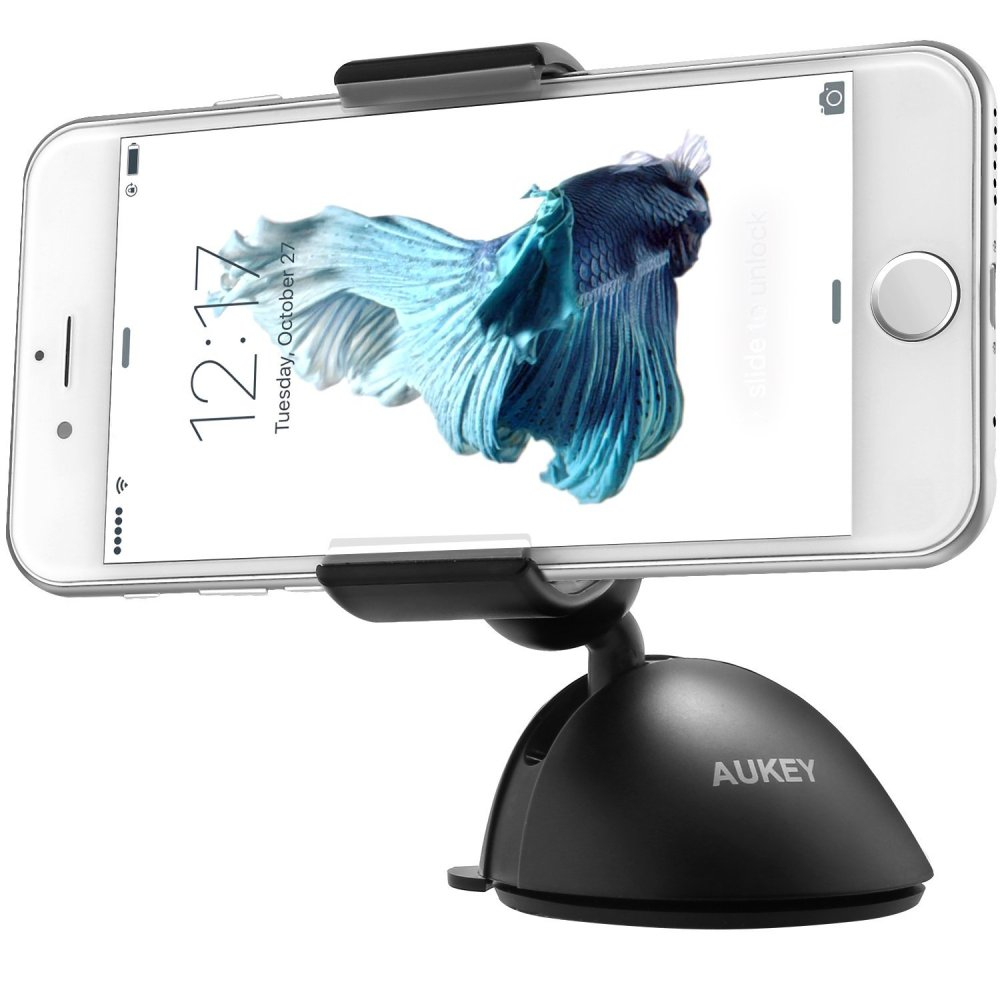 Aukey Windshield Dashboard Car Mount Holder Cradle for iPhone 6S Plus, 6S, Samsung Galaxy 6S and More Other Phone, Single-hand Operation