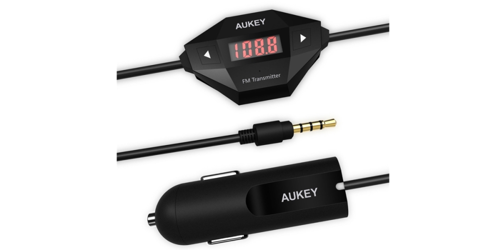 Aukey Wireless FM Transmitter Radio Car Kit with 3.5mm Audio Plug and Car Charger