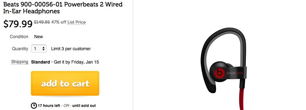 Beats Powerbeats 2 Wired In-Ear Headphones Woot