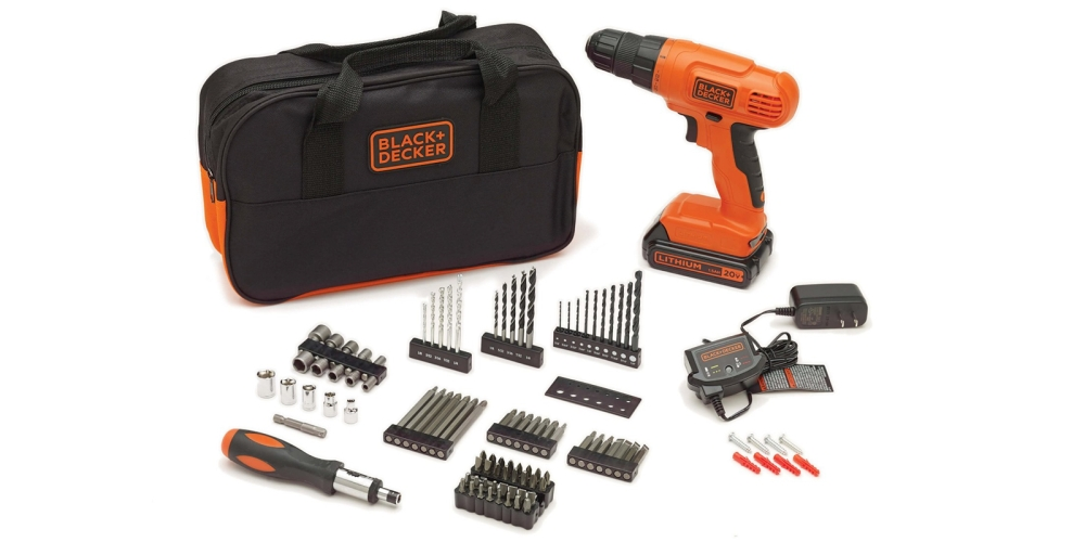 Black & Decker BDC120VA100 20-Volt MAX Lithium-Ion Drill Kit with 100 Accessories