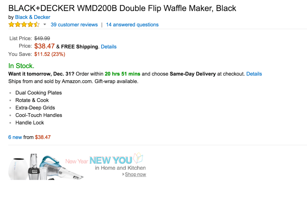 Black + Decker Double Flip Waffle Maker in Black-2